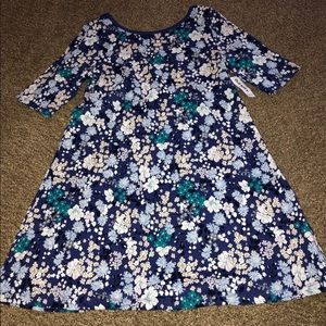 NWT Old Navy Blue Floral Swing Dress L 10/12